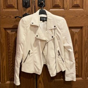 Off-white/light cream faux leather jacket